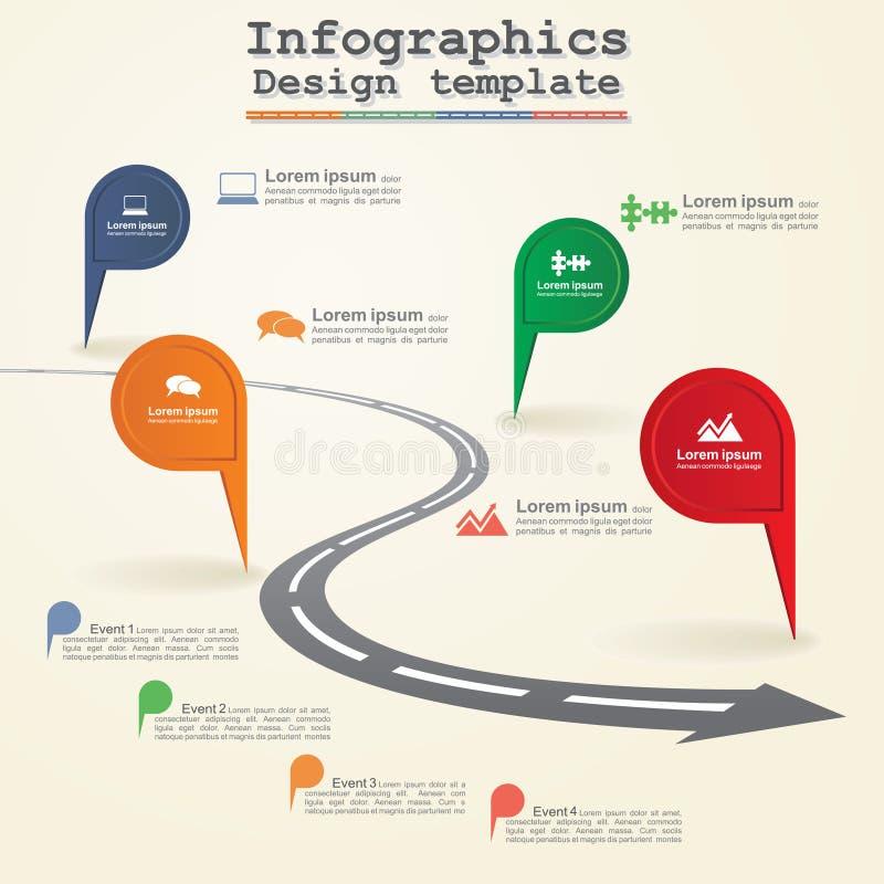 För timelinebeståndsdel för väg infographic orientering vektor royaltyfri illustrationer