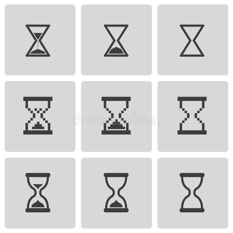 För timglassymboler för vektor svart uppsättning vektor illustrationer