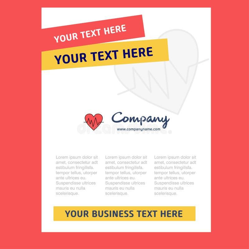 För titelsida för hjärta ECG design för företagsprofilen, årsrapport, presentationer, broschyr, broschyrvektorbakgrund royaltyfri illustrationer