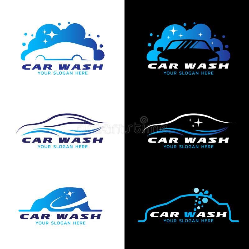 För tjänste- fastställd design logovektor för biltvätt vektor illustrationer
