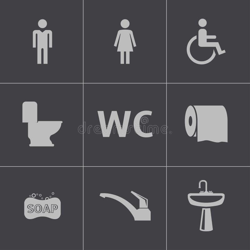 För toalettsymboler för vektor svart uppsättning royaltyfri illustrationer