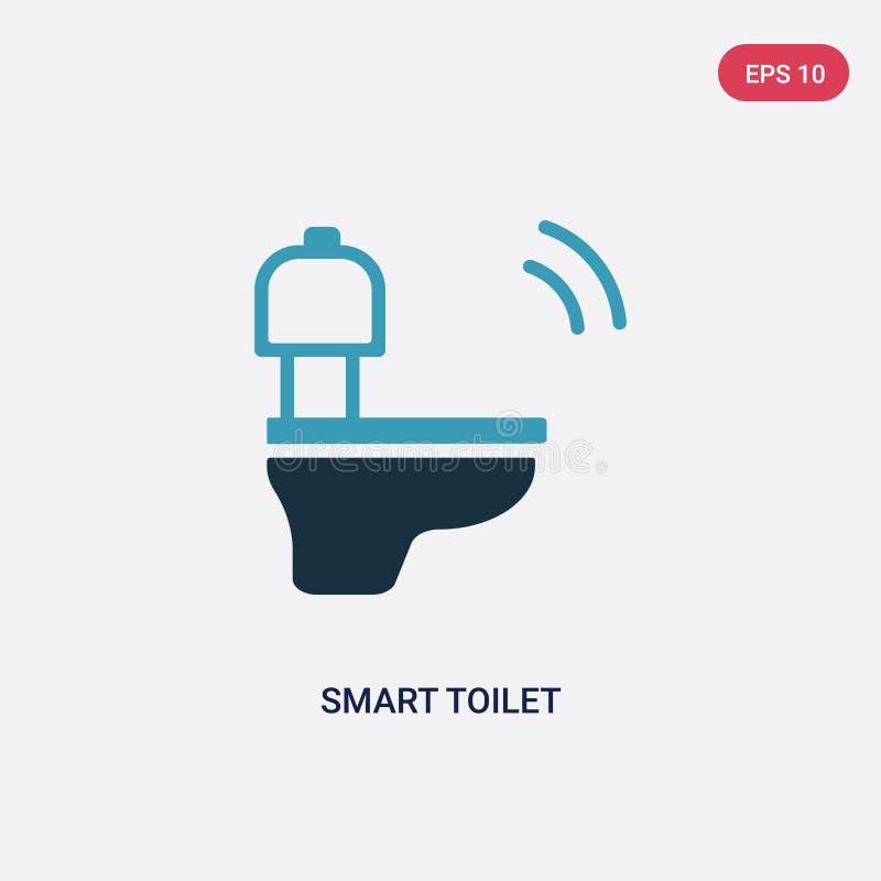 För toalettvektor för två färg smart symbol från smart hem- begrepp det isolerade blåa smarta symbolet för toalettvektortecknet k royaltyfri illustrationer