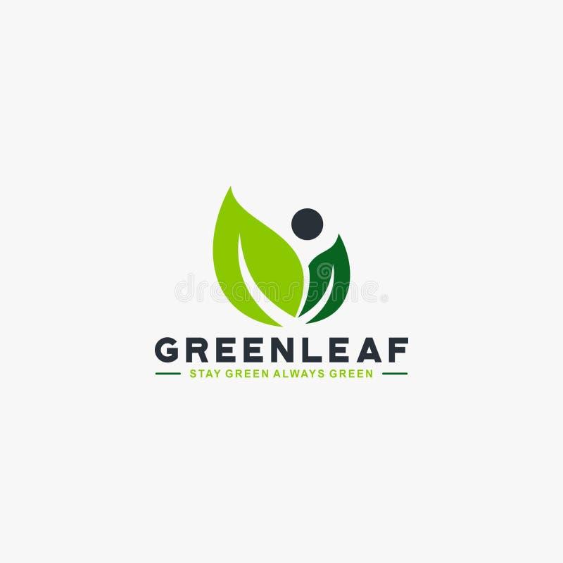 För trädlogo för blad grön vektor för design royaltyfri illustrationer