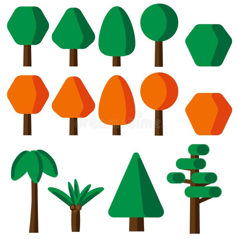 För trädsymboler för plan stil enkel uppsättning royaltyfri illustrationer