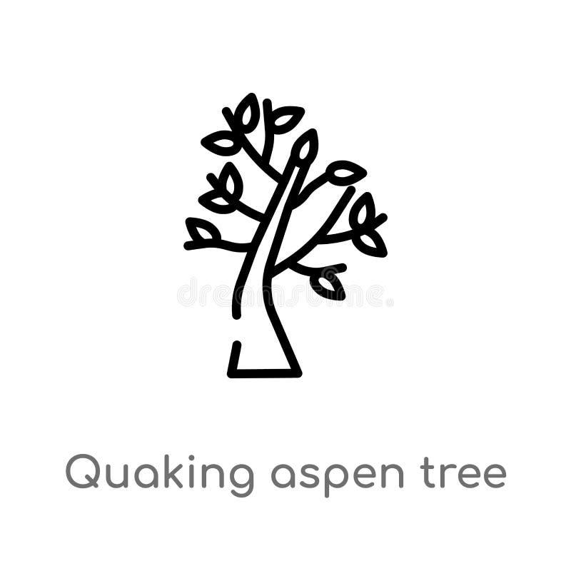 för trädvektor för översikt skälva asp- symbol isolerad svart enkel linje beståndsdelillustration från naturbegrepp Redigerbar ve royaltyfri illustrationer