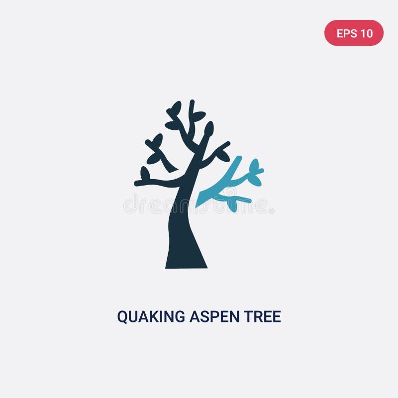 För trädvektor för två färg skälva asp- symbol från naturbegrepp det isolerade blåa skälva asp- symbolet för trädvektortecknet ka vektor illustrationer