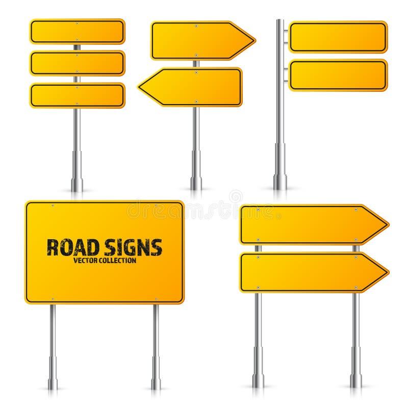 För trafiktecken för väg gul uppsättning Tomt br?de med st?llet f?r text Modell Isolerat informationstecken riktning vektor royaltyfri illustrationer