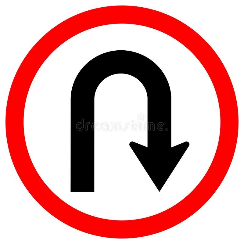 För trafikvägmärke för U-sväng höger isolat på vit bakgrund, vektorillustration EPS 10 stock illustrationer