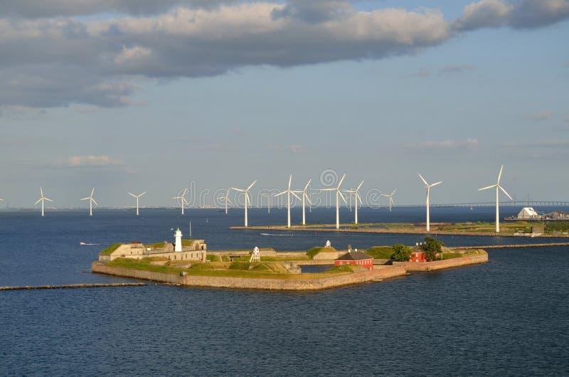 För Trekoner för vindturbiner Köpenhamn Tom Wurl fort arkivbilder