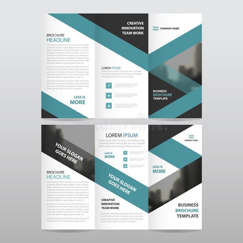 För triangelaffär för blå svart uppsättning för design för trifold för broschyr för broschyr för reklamblad för rapport vektor fö stock illustrationer