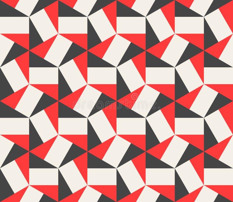 För triangelrektanglar för vektor sömlös svart röd vit sexhörnig modell vektor illustrationer