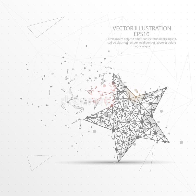 För triangeltråd för stjärna digitalt dragen låg poly ram vektor illustrationer