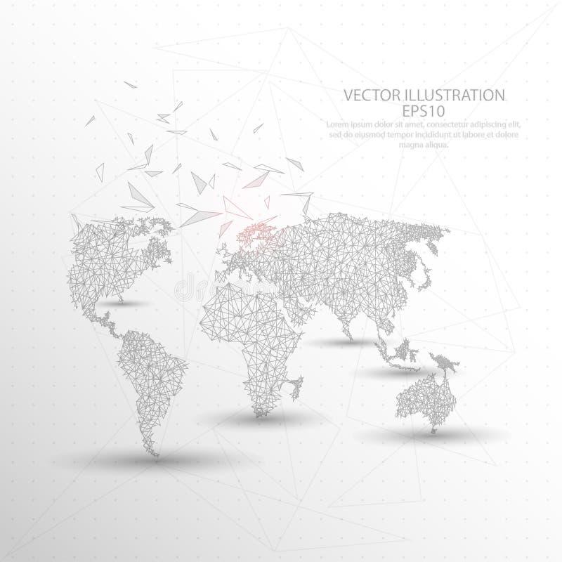 För triangeltråd för världskarta digitalt dragen låg poly ram stock illustrationer