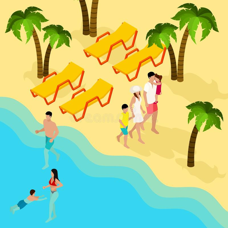 För tropisk isometriskt baner strandsemester för familj vektor illustrationer