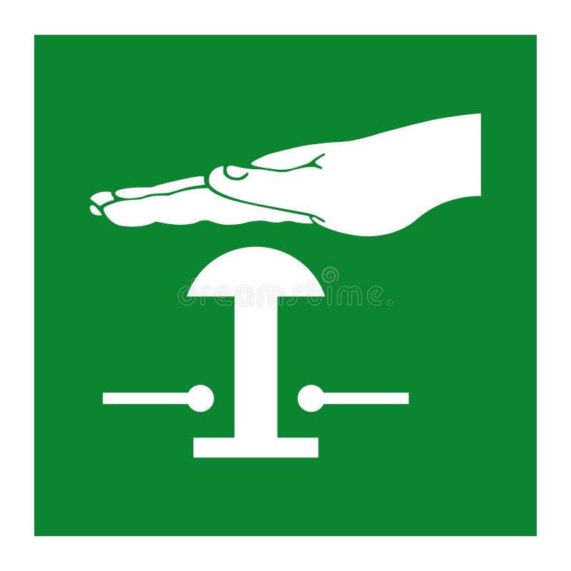 För tryckknappsymbol för nöd- stopp isolat på vit bakgrund, vektorillustration EPS 10 stock illustrationer