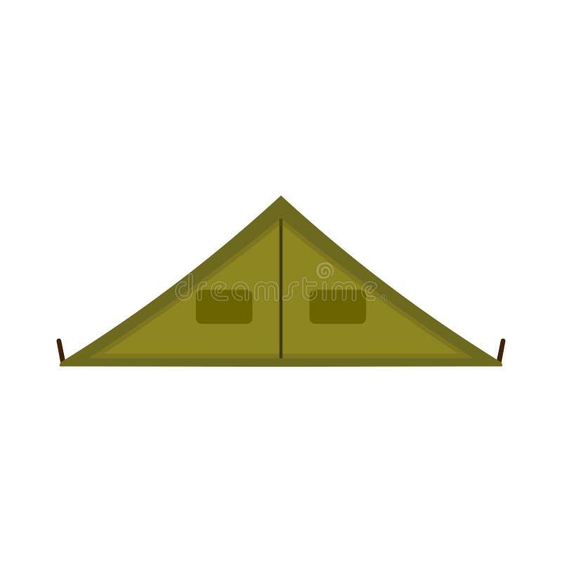 För turismsemester för campa tält symbol för vektor för utrustning för fritid Grönt campingplatsturskydd framlänges utomhus- pick royaltyfri illustrationer