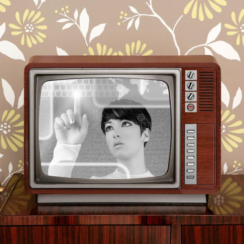 för tvtappning för contrast framtida futuristic retro kvinna arkivbild