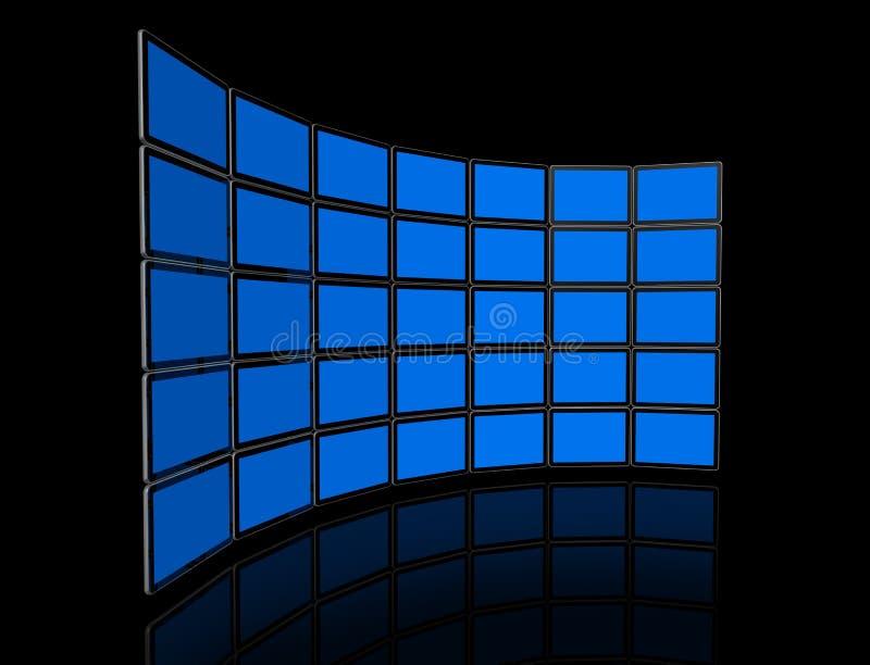 för tvvideo för plana skärmar vägg stock illustrationer