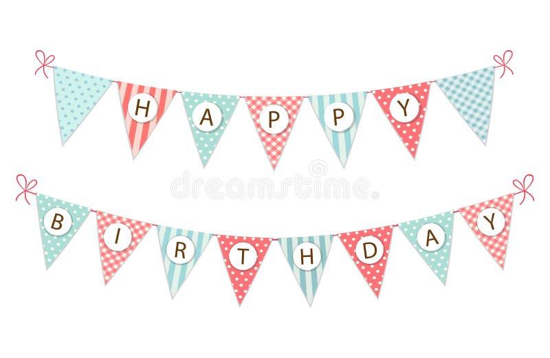 För tygstanderten för gullig tappning sjunker det festliga banret som bunting med lycklig födelsedag för bokstäver i sjaskig chic stock illustrationer