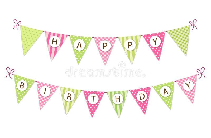 För tygstanderten för gullig tappning sjunker det festliga banret som bunting med lycklig födelsedag för bokstäver i sjaskig chic vektor illustrationer