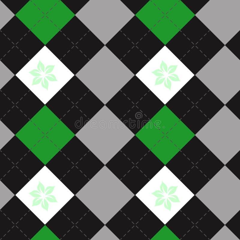 För tygtextur för vektor rutigt tryck i skuggor av svart, gräsplan och grå färger Sömlös modell för tartanpläd stock illustrationer