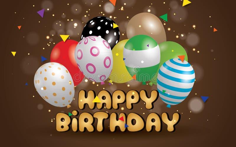 För typografivektor för lycklig födelsedag design för hälsningkort och affisch med ballongen royaltyfri illustrationer