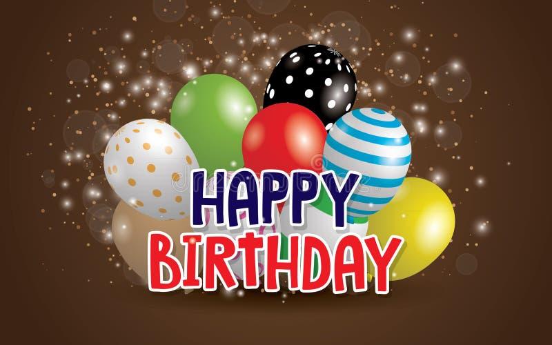 För typografivektor för lycklig födelsedag design för hälsningkort och affisch med ballongen stock illustrationer