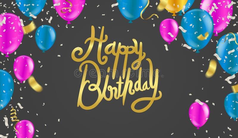 För typografivektor för lycklig födelsedag design för hälsningkort och affisch med ballongen och designmall för eps 10 royaltyfri illustrationer