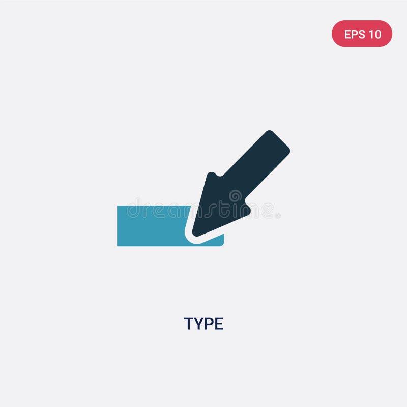 För typvektor för två färg symbol från riktningsbegrepp det isolerade blåa symbolet för typvektortecknet kan vara bruk för rengör royaltyfri illustrationer