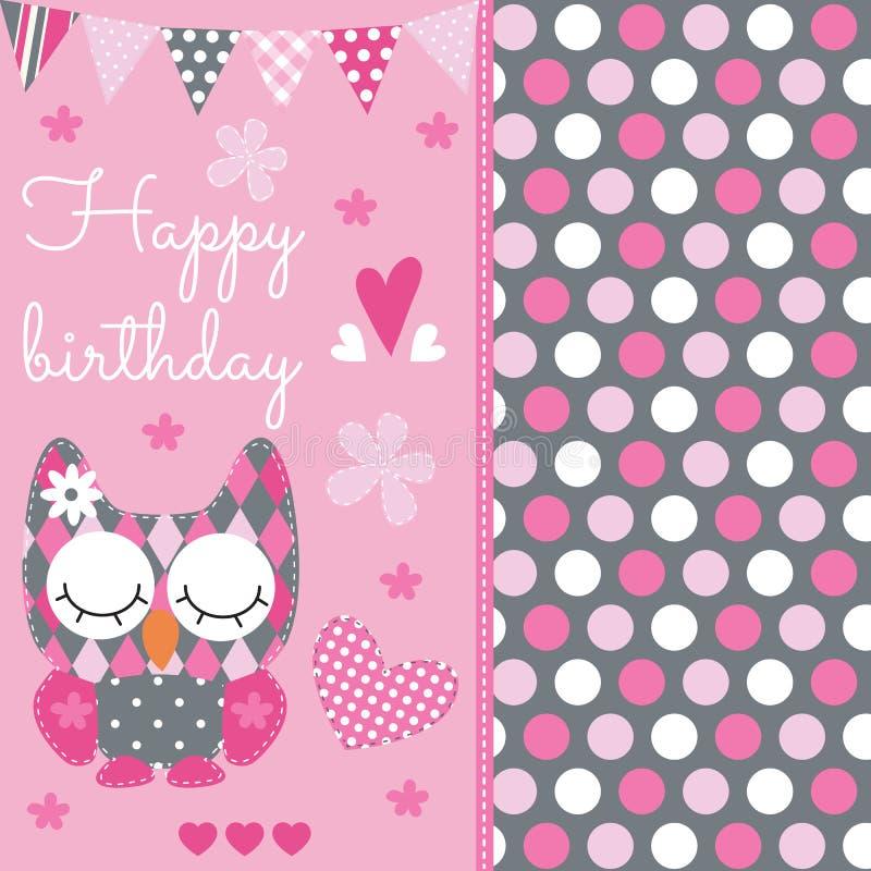 För ugglavektor för lycklig födelsedag illustration vektor illustrationer