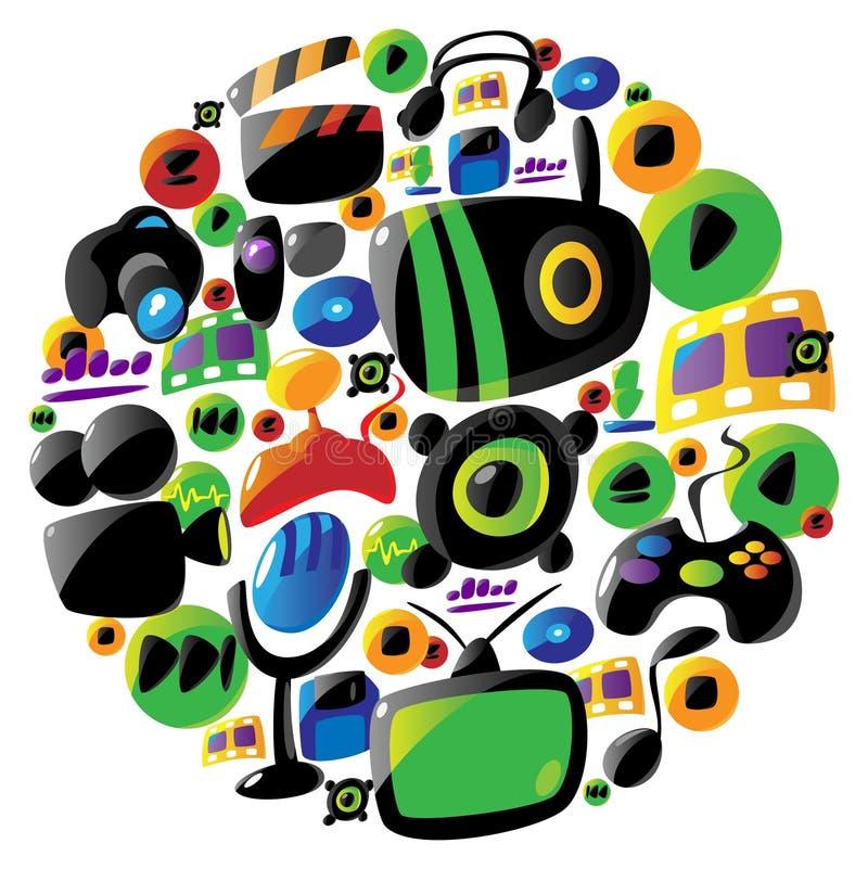 för underhållningsymboler för cirkel färgrik musik stock illustrationer