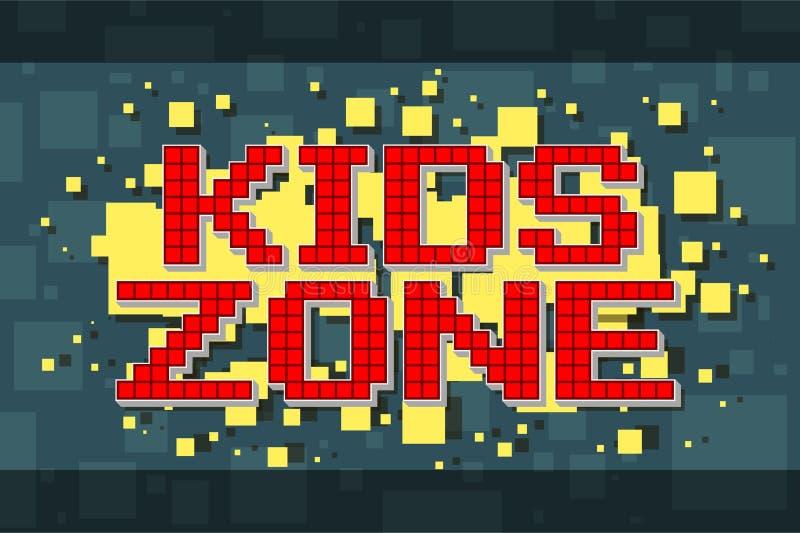 För ungezon för rött PIXEL retro knapp för videospel royaltyfri illustrationer