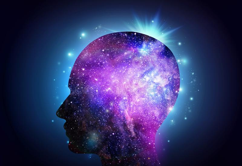 För universuminspiration för mänskligt huvud insikt royaltyfria foton