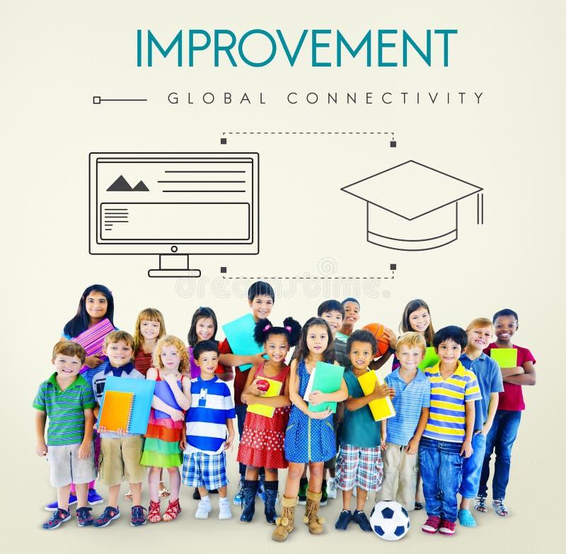 För uppkopplingsmöjlighetutbildning för förbättring globalt begrepp för diagram arkivbild
