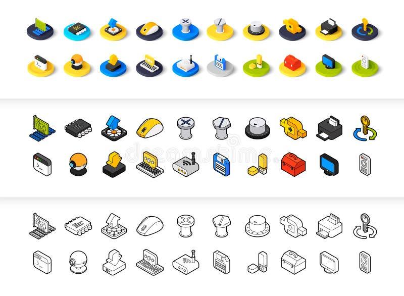 För uppsättning av symboler i olik stil - isometriska för otline, färgade och svarta versioner för lägenhet och vektor illustrationer