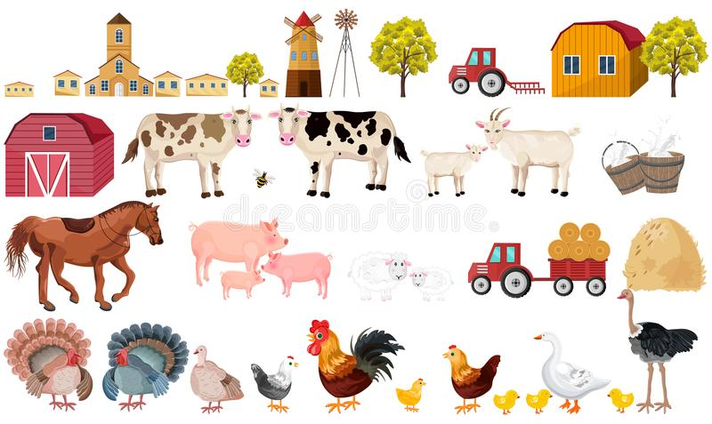 För uppsättningsamling för lantgård stor vektor Byn djur, traktorer, bearbetar illustrationen vektor illustrationer