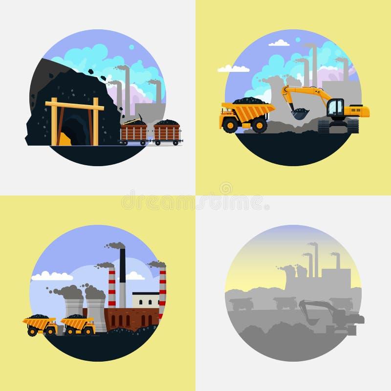 För uppsättningvektor för coalmining bransch plan illustration stock illustrationer