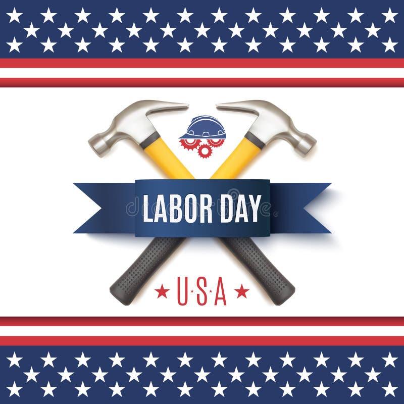 För USA för arbets- dag mall bakgrund royaltyfri illustrationer