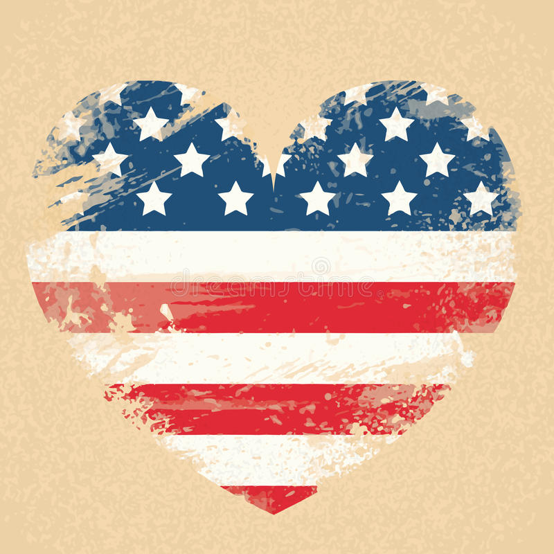För USA för medborgare för Förenta staternaflaggahjärta baner för dag patriot stock illustrationer