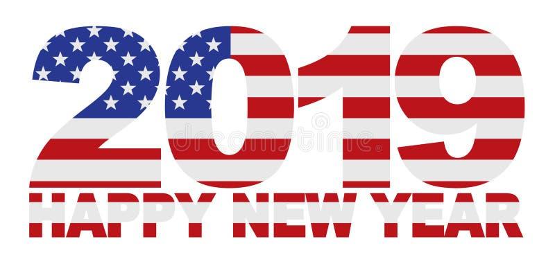 2019 för USA för lyckligt nytt år illustration för vektor amerikanska flaggan stock illustrationer