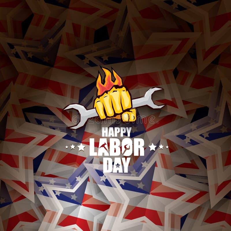För USA-vektor för arbets- dag etikett eller bakgrund affisch eller baner för arbets- dag för vektor lycklig med den grep hårt om stock illustrationer