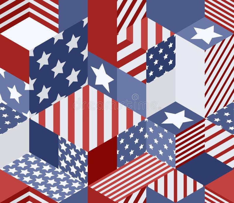 För USA för vektor sömlös modell flaggor isometrisk bakgrund för kuber 3d i amerikanska flagganfärger vektor illustrationer
