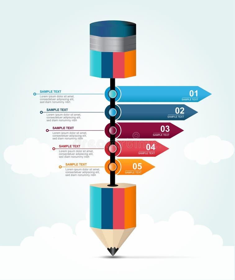 För utbildningsblyertspenna för 5 moment alternativ för infographics till framgångaffären och att lära för utbildning royaltyfri illustrationer
