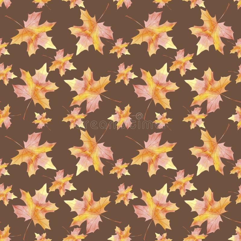 För utdragen sömlös blad för nedgång för lönn modellvattenfärg för hand färgrikt på brun bakgrund royaltyfri illustrationer
