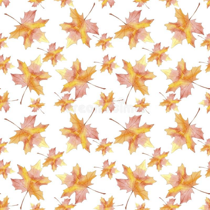 För utdragen sömlös blad för nedgång för lönn modellvattenfärg för hand färgrikt på vit bakgrund stock illustrationer