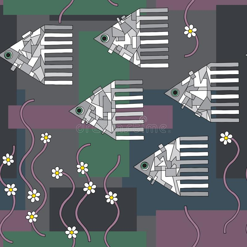 För utdragen sömlös modell fiskvektor för hand Abstrakt geometrisk bakgrund för havsdjur Undervattens- textur för yttersida vektor illustrationer