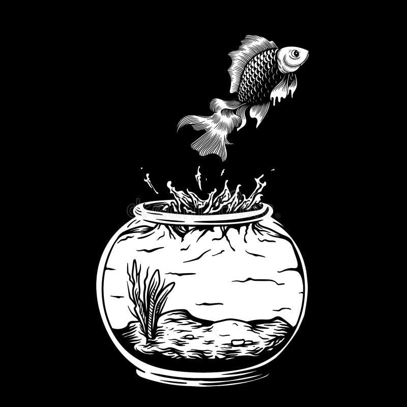 För utgångsdiagram för guldfisk genomskinlig fri vektor royaltyfri illustrationer