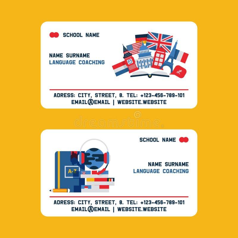 För utländskt språk kort för affär för vektor för lärare och lagledare Fransk, tysk och italiensk språklärare för engelska, med vektor illustrationer