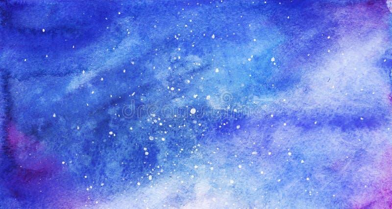 För utrymmegalax för vattenfärg färgrik stjärnklar bakgrund för nebulosa royaltyfri illustrationer