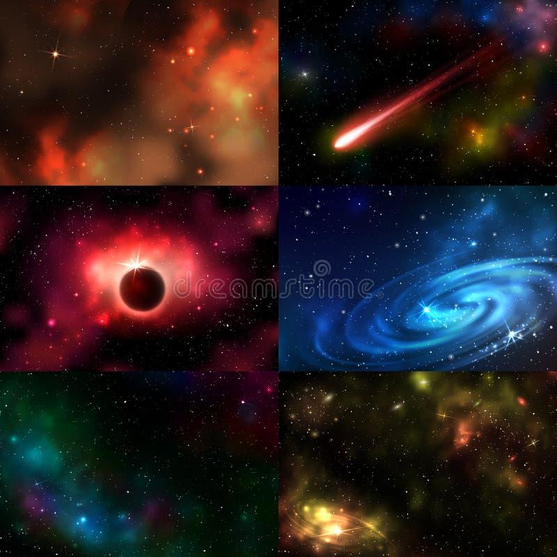 För utrymmeillustration för stjärnklar yttre galax kosmisk vektor för konstellation för natt för kosmos för nebulosa för astronom stock illustrationer